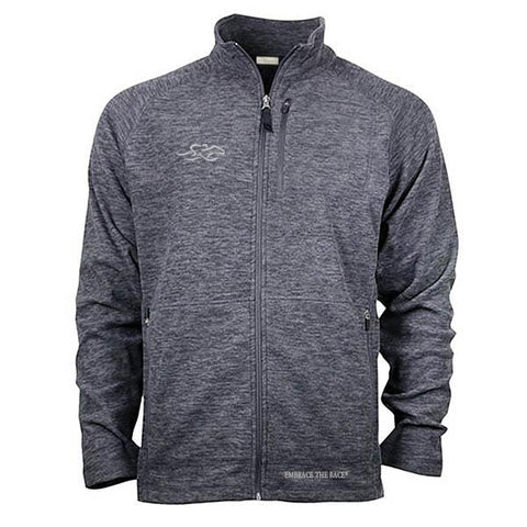 Heathered gray micro fleece full zip jacket with front and side pockets.  Beautifully adorned with the EMBRACE THE RACE logo on the right chest and wordmark on the bottom hem.