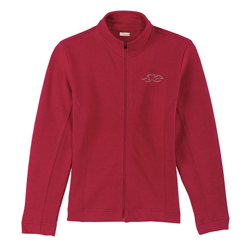 A full zip luxurious flat rib sweater in cardinal red.   EMBRACE THE RACE logo embroidered on left chest.