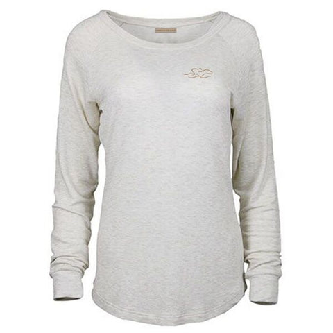 Long sleeve french terry scoop neck in sand color with a gold EMBRACE THE RACE icon on left chest.