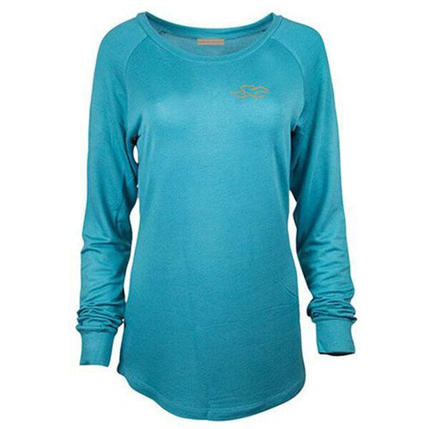 Long sleeve french terry scoop neck in turquoise color with a gold EMBRACE THE RACE icon on left che