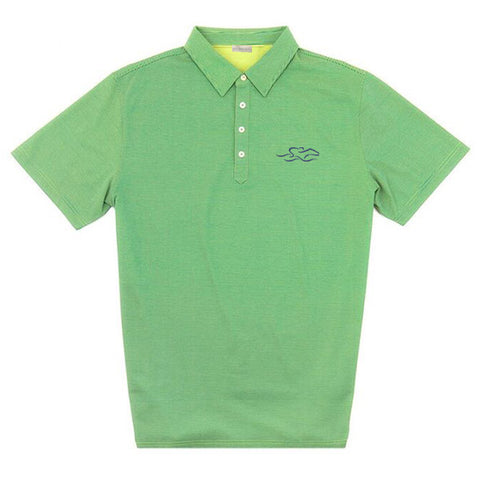 A lime green and navy subtle striped luxury performance polo that is bamboo charcoal on the inside and supima cotton on the outside.  Embroidered with our EMBRACE THE RACE icon in navy on the left chest.