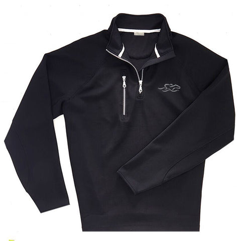 A knitted black performance fabric that is highly water resistant.  This 1/4 zip pullover is adorned with metal zipper at neck and at right chest pocket.  EMBRACE THE RACE icon embroidered on left chest.