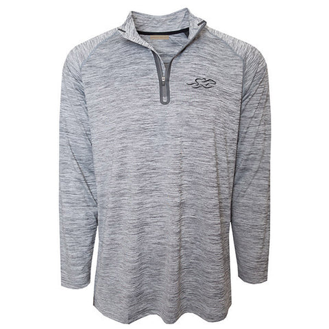 Marbled gray and white qtr zip performance pullover.  Charcoal gray EMBRACE THE RACE icon on the left chest.