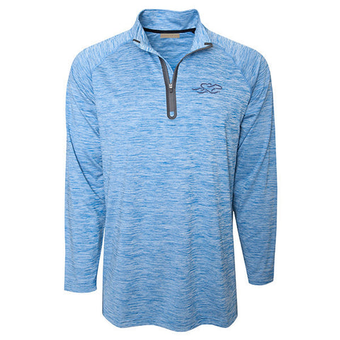 Marbled nautical blue and white qtr zip performance pullover.  Charcoal gray EMBRACE THE RACE icon on the left chest.