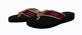 Mens black soled flip flops.  The straps are made of tan backing and cardinal EMBRACE THE RACE ribbon with our tan horse icon