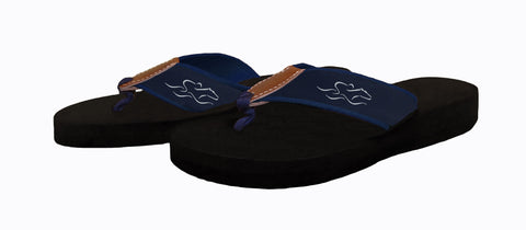 Mens black soled flip flops.  The straps are made of navy backing and navy EMBRACE THE RACE ribbon with our white horse icon