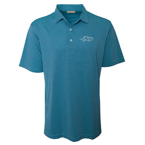 Aqua and navy subtle stripe polo with matching pique collar.  EMBRACE THE RACE icon embroidered on left chest.
