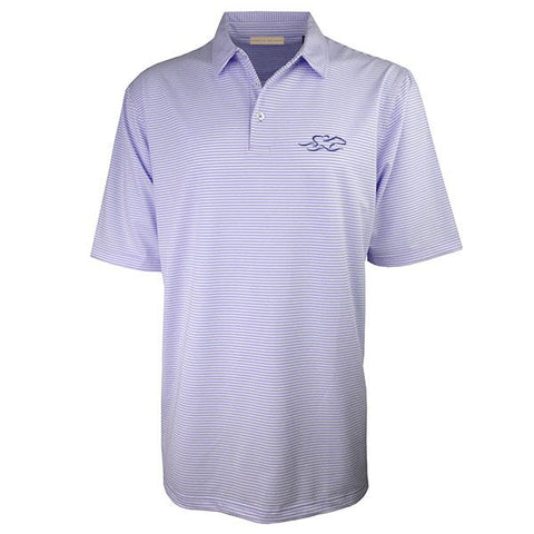 Lavender and white subtle stripe polo with matching pique collar.  EMBRACE THE RACE icon embroidered on left chest.
