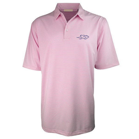 Rose and white subtle stripe polo with matching pique collar.  EMBRACE THE RACE icon embroidered on left chest.