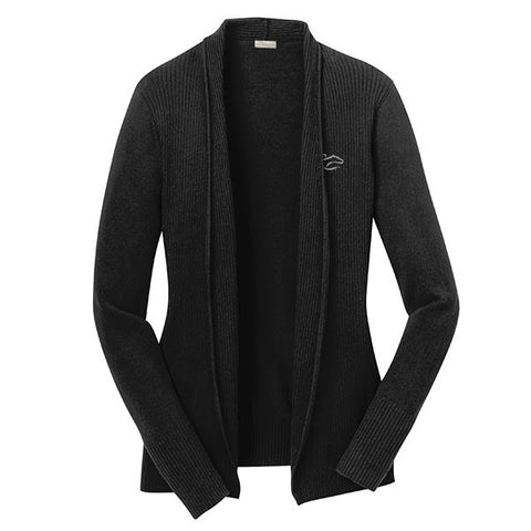 An open front drape cardigan sweater in black.  EMBRACE THE RACE logo embroidered on left chest.