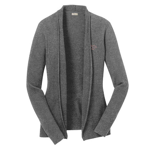 An open front drape cardigan sweater in gray.  EMBRACE THE RACE logo embroidered on left chest.