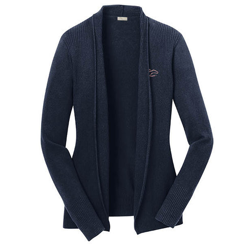 An open front drape cardigan sweater in navy.  EMBRACE THE RACE logo embroidered on left chest.