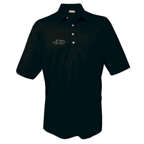 An original solid textured pocket polo in black. EMBRACE THE RACE logo on the right chest.