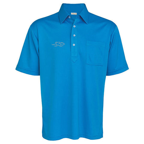 An original solid textured pocket polo in electric blue. EMBRACE THE RACE logo on the right chest.