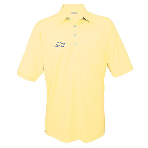 An original solid textured pocket polo in yellow. EMBRACE THE RACE logo on the right chest.