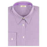 A Paddock Collection mini check dress shirt in purple.  EMBRACE THE RACE logo embroidered on left chest over pocket.