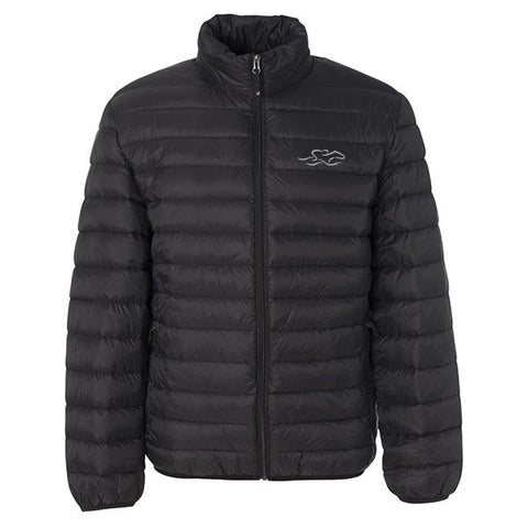 A black packable down stuffed puffer jacket.  EMBRACE THE RACE logo embroidered on left chest.