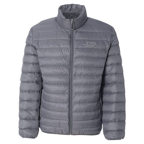 A gray packable down stuffed puffer jacket.  EMBRACE THE RACE logo embroidered on left chest.