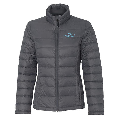 Womens Packable Down Puffer Jacket - Gray