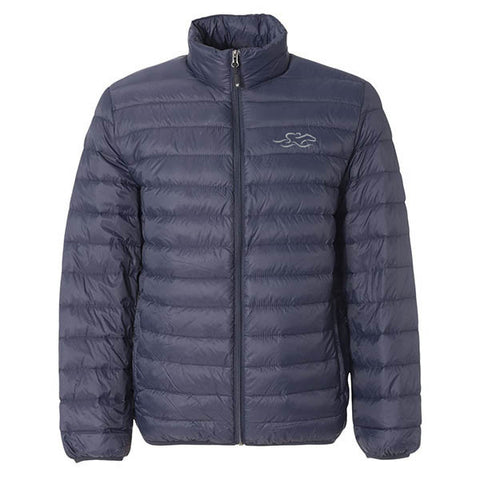 A navy packable down stuffed puffer jacket.  EMBRACE THE RACE logo embroidered on left chest.