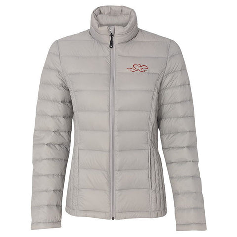A stone colored packable down stuffed puffer jacket.  EMBRACE THE RACE logo embroidered on left chest.