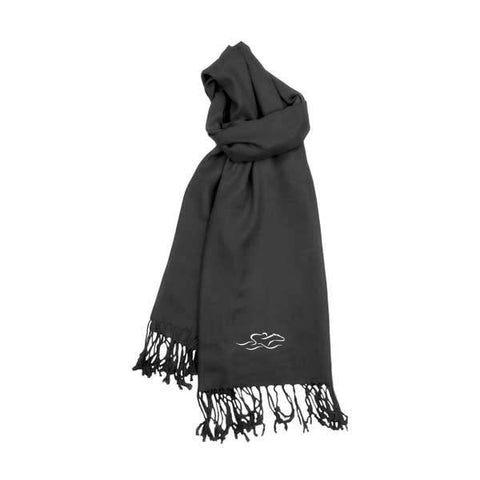 A womens imported black pashmina scarf with fringe.  EMBRACE THE RACE icon on one end and wordmark on the other.