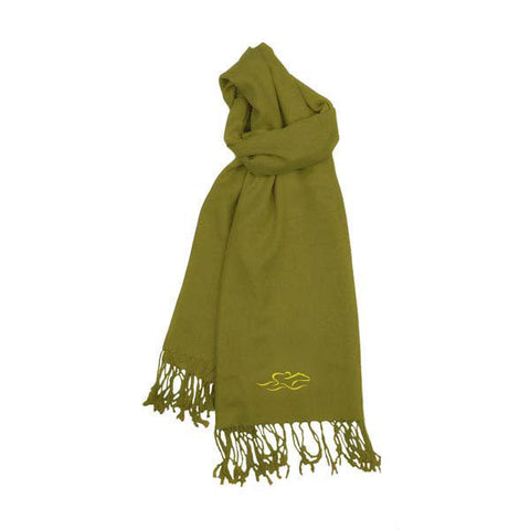 A womens imported olive green pashmina scarf with fringe.  EMBRACE THE RACE icon on one end and wordmark on the other.