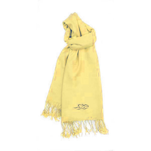 A womens imported yellow pashmina scarf with fringe.  EMBRACE THE RACE icon on one end and wordmark on the other.