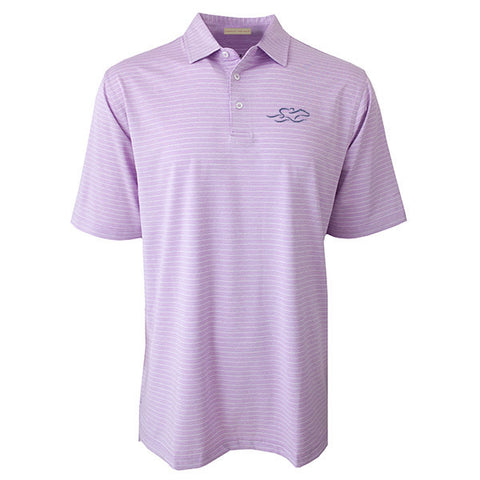 Lilac colored polo with open sleeve and hem and matching tailored collar.  Delicate pencil stripe in white.  EMBRACE THE RACE logo embroidered on left chest in navy.