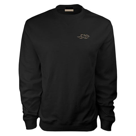 Solid black supima cotton luxury crew.  Beautifully embroidered with an EMBRACE THE RACE icon on the left chest.