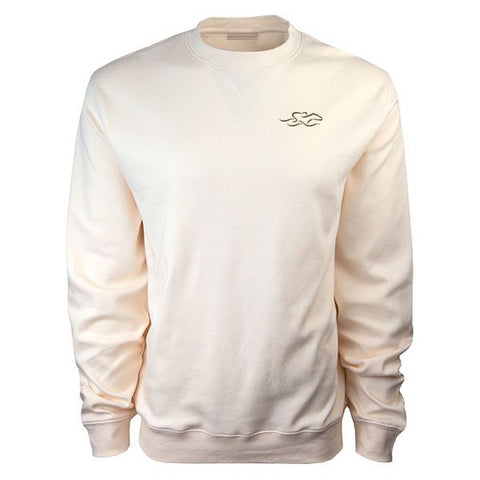 Solid pearl colored supima cotton luxury crew.  Beautifully embroidered with an EMBRACE THE RACE icon on the left chest.