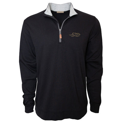 Black supima cotton 1/4 zip with gray lining on collar.  EMBRACE THE RACE logo embroidered on the left chest in gray