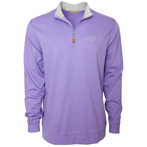 Light purple supima cotton 1/4 zip with gray lining on collar.  EMBRACE THE RACE logo embroidered on the left chest in gray