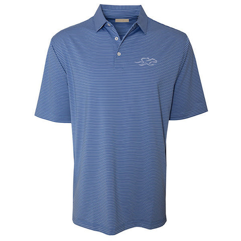 Marine blue polo with open sleeve and hem and matching tailored collar.  Subtle white pinstripe.  EMBRACE THE RACE logo embroidered on left chest in white to match.