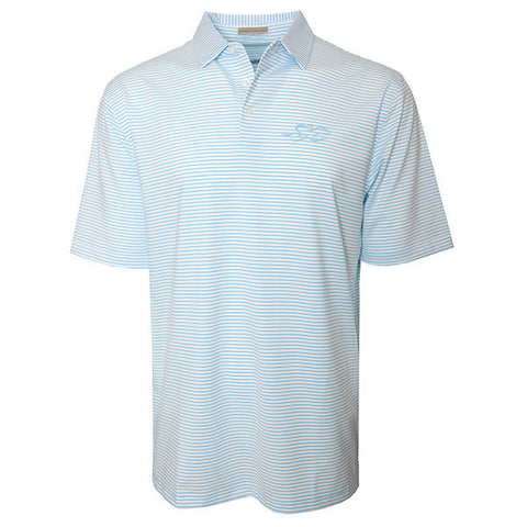 White polo with open sleeve and hem and matching tailored collar.  Subtle light blue pinstripe.  EMBRACE THE RACE logo embroidered on left chest in blue to match.