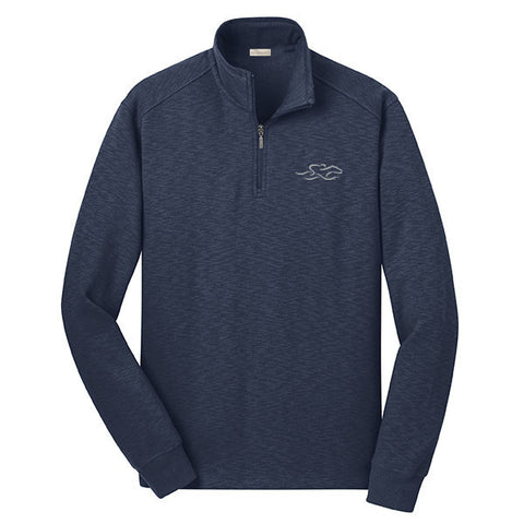 A navy sophisticated qtr-zip pullover.   EMBRACE THE RACE logo embroidered on left chest.