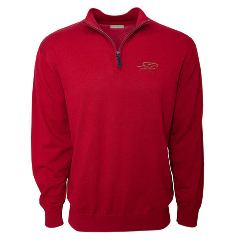Cardinal colored cotton qtr zip sweater with EMBRACE THE RACE icon embroidered on the left chest. Lightly ribbed at wrist and waist for perfect fit.