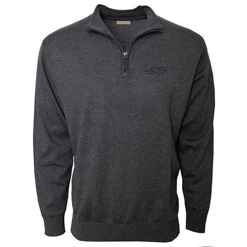 Charcoal cotton qtr zip sweater with EMBRACE THE RACE icon embroidered on the left chest. Lightly ribbed at wrist and waist for perfect fit.