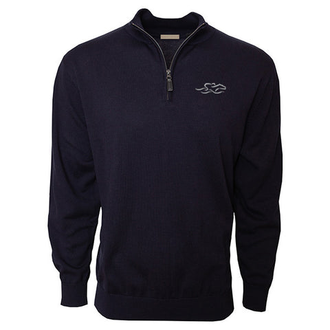 Navy cotton qtr zip sweater with EMBRACE THE RACE icon embroidered on the left chest. Lightly ribbed at wrist and waist for perfect fit.