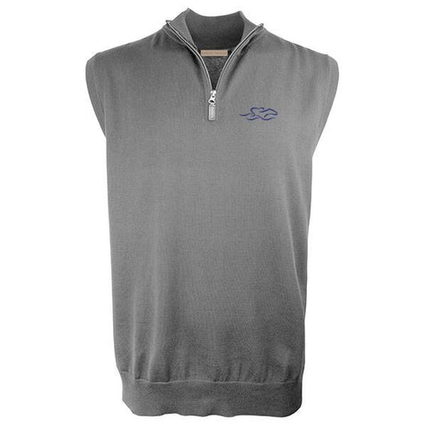 Silver gray cotton qtr zip vest with EMBRACE THE RACE icon embroidered on the left chest.