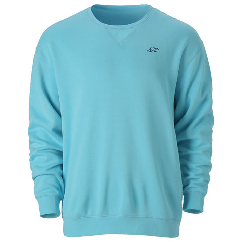 Aqua crewneck sweatshirt with navy embroidered EMBRACE THE RACE icon on the left chest.  Lightly banded at wrist and waist