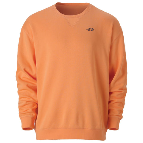 Melon colored crewneck sweatshirt with navy embroidered EMBRACE THE RACE icon on the left chest.  Lightly banded at wrist and waist