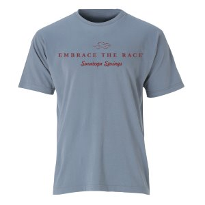 A garment dyed steel gray colored short sleeve t-shirt with cardinal EMBRACE THE RACE logo and Saratoga Springs center front