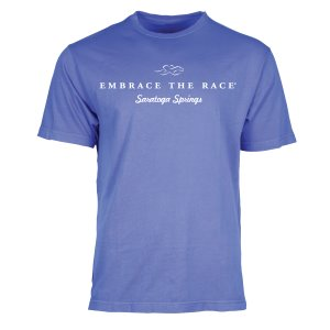 A garment dyed lake blue colored short sleeve t-shirt with white EMBRACE THE RACE logo and Saratoga Springs center front