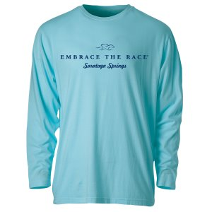 A garment dyed aqua colored long sleeve t-shirt with navy EMBRACE THE RACE logo and Saratoga Springs center front