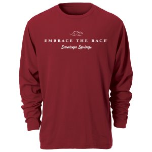A garment dyed cardinal colored long sleeve t-shirt with white EMBRACE THE RACE logo and Saratoga Springs center front