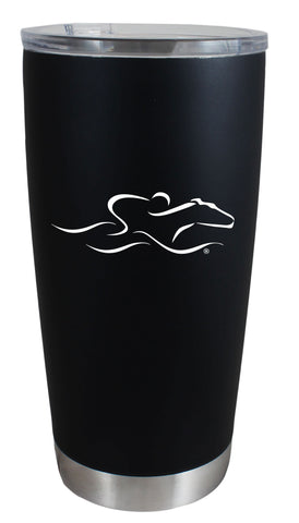 A 20 ounce double wall vacuum insulated travel mug.  Black matte finish and EMBRACE THE RACE icon etched on the side in white with the wordmark on the opposite side.