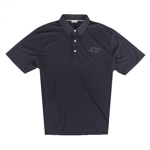 An eco pique polo shirt in black. EMBRACE THE RACE logo embroidered on left chest.