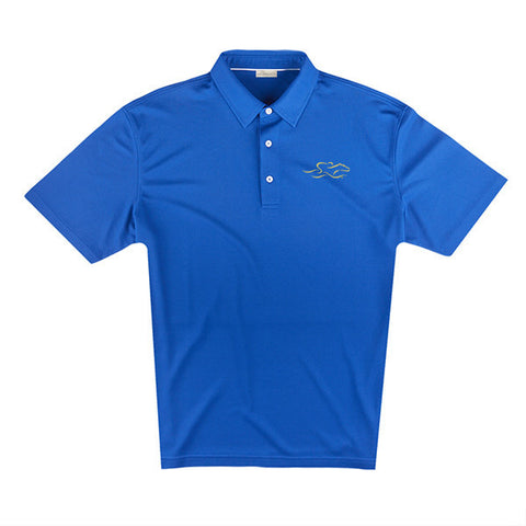 An eco pique polo shirt in nautical blue. EMBRACE THE RACE logo embroidered on left chest.