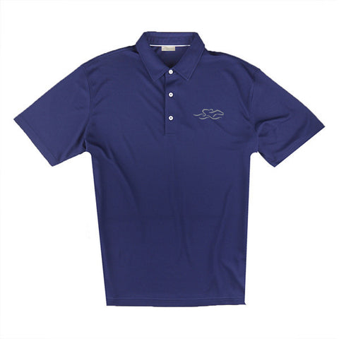 An eco pique polo shirt in navy. EMBRACE THE RACE logo embroidered on left chest.